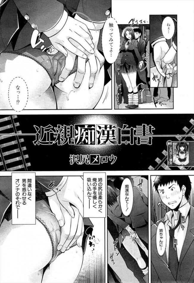 【エロ漫画・エロ同人】巨乳人妻の姉と痴漢プレイで近親相姦してる弟www dl (2)