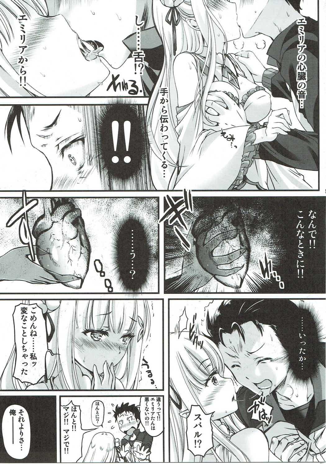 【リゼロ エロ漫画・エロ同人】エミリアとの初めてのセックスを楽しみたいのに手コキで邪魔されて何度も発射することにwwwww (4)
