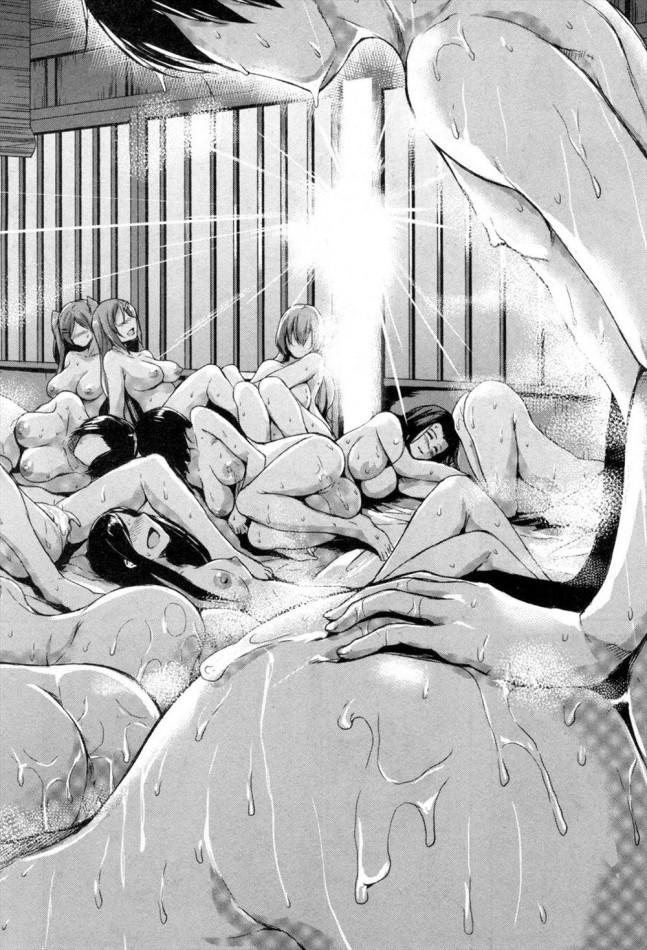 【エロ漫画・エロ同人誌】発情して収まらない女たちを何十人も相手取って一晩中ヤりまくる絶倫野郎、一晩で何人も孕ませたったwwww (25)
