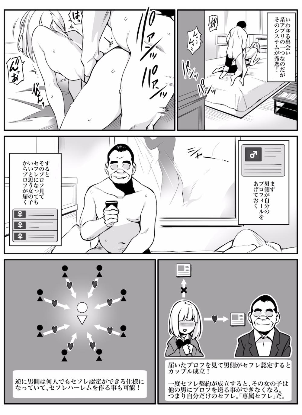 【エロ漫画】専属セフレアプリでOL、人妻、少女とやりたい放題セックスをする中年男w【無料 エロ同人誌】 (3)
