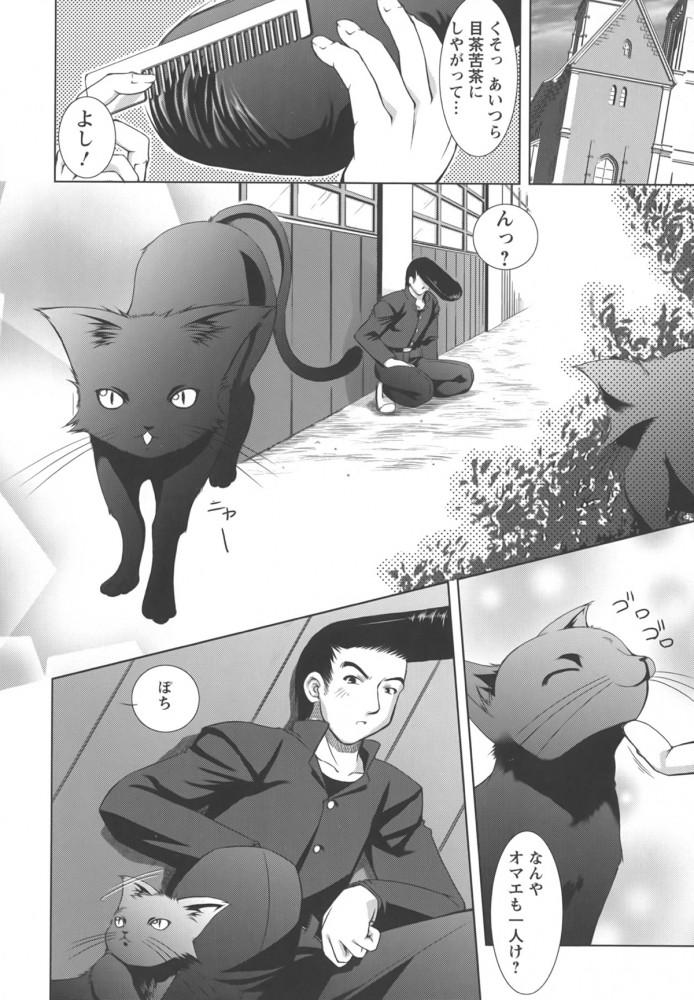 【エロ漫画】黒猫を助けようとしてトラックに轢かれてしまい、気がつくと女にフェラされてセックスしちゃうヤンキーw【たかねのはな エロ同人】 (4)