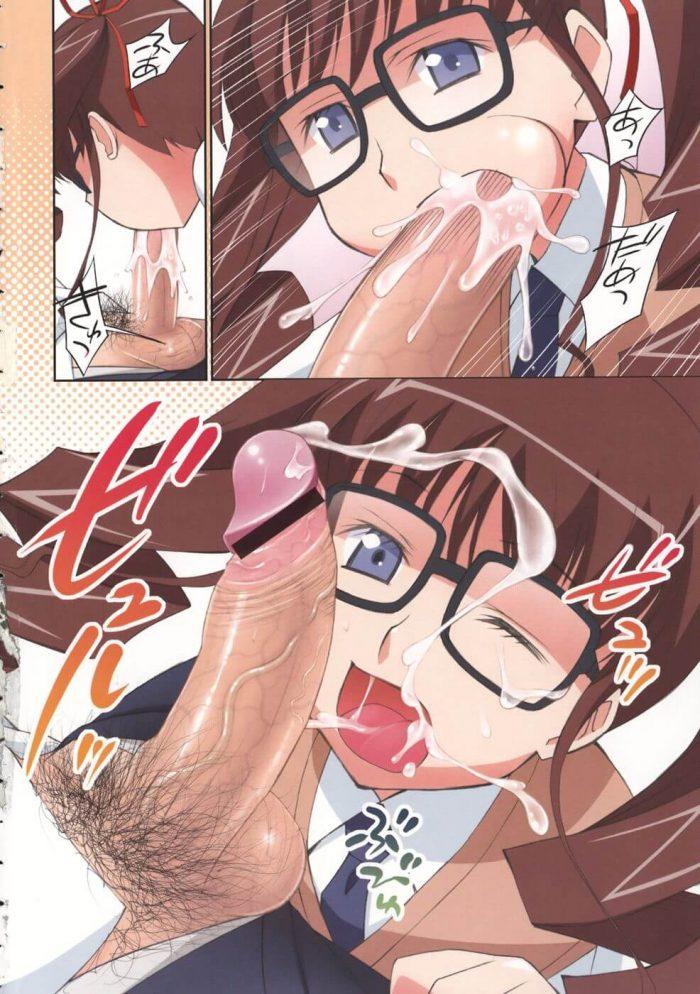 【エロ漫画】真面目な眼鏡っ娘女子校生がおちんちんに興味あってクラスメイトの男子のちんぽフェラチオして顔射させたら、さらにフェラして口内射精までさせてパイパンマンコに中出しもさせちゃう♪ (4)