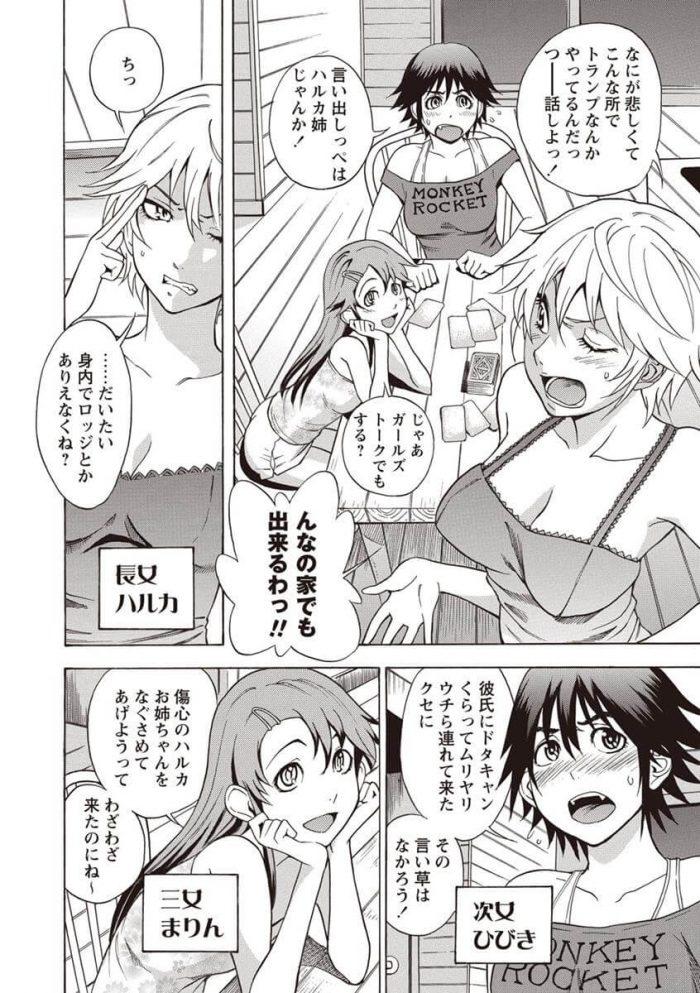 【エロ漫画】誰もいない山の中のロッジで巨乳3姉妹が乱交セックスしてるぞ~ww【しでん晶 エロ同人】 (6)