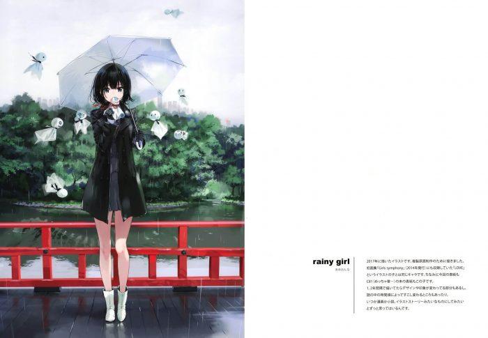 【エロ同人誌】非エロフルカラーイラスト集。JKが雨の中で傘をさして雨が降るときだけ死んだ生き物を蘇らせたり…【atelier Tiv artworks エロ漫画】 (13)