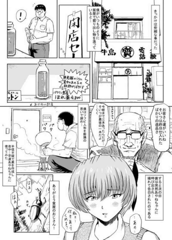 【エロ漫画】いきつけの質屋の閉店セールで手に入れた「ほれ薬」で憧れの巨乳の制服JKをものにしたメガネのブ男www【無料 エロ同人】 (3)