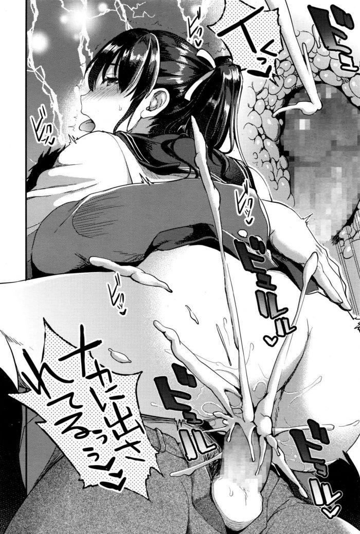 【エロ漫画】放送部の後輩で巨乳JKの声を聞くと勃起してしまうメガネくんが着衣ハメで中出しセックス!【無料 エロ同人】 (22)
